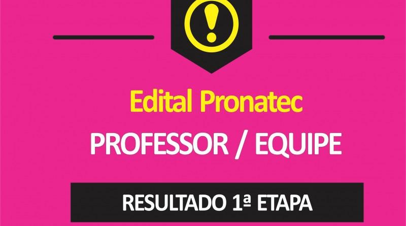 RESULTADO PRIMEIRA ETAPA PROFESSOR - APOIO